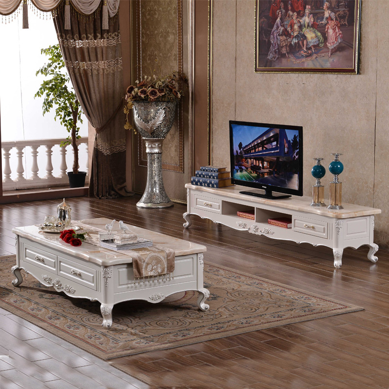HZTC Bàn trà Phong cách châu Âu bàn cà phê TV tủ kết hợp phòng khách đồ nội thất tủ khóa khắc nhỏ că
