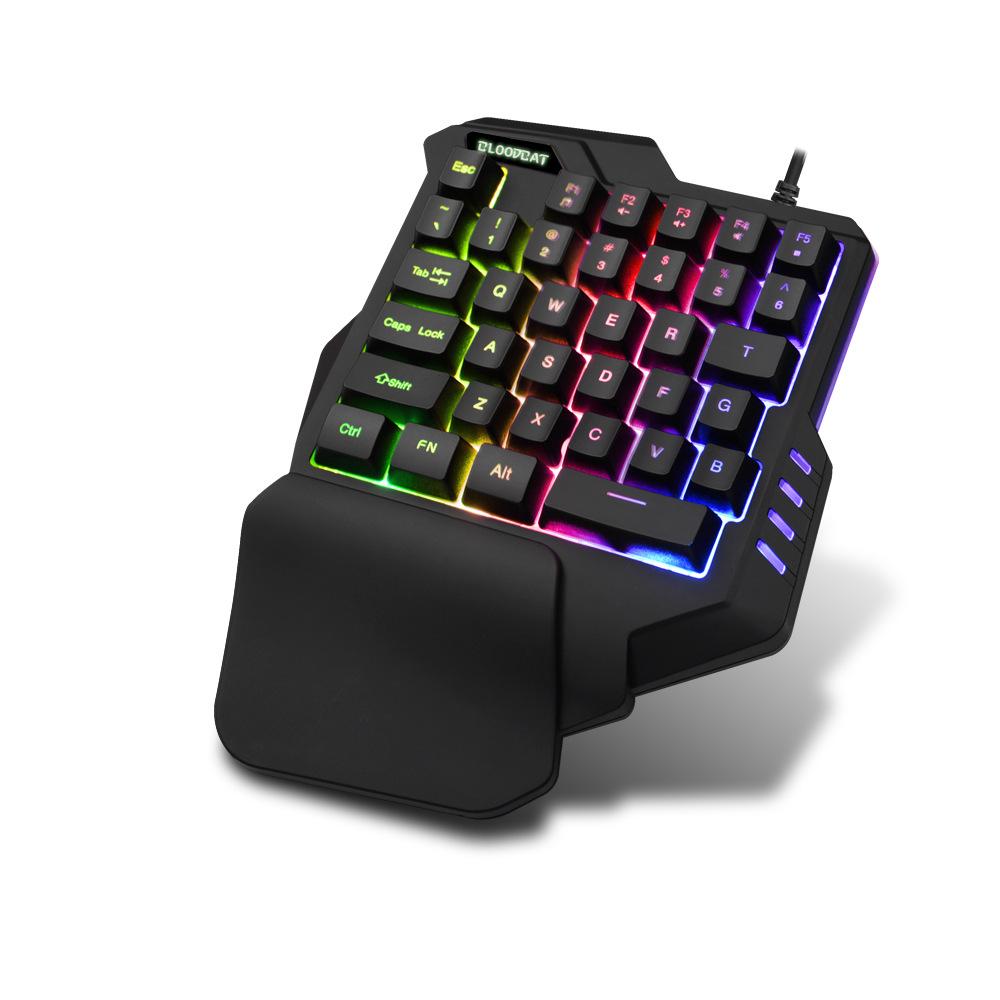 BLOODBAT Bàn phím một tay đầy màu sắc RGB ghi macro không dùng máy tính xách tay bàn phím chơi game