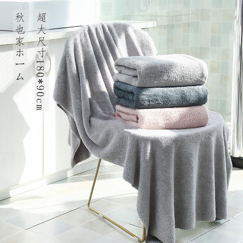 Khăn tắm Nhà máy bán buôn 180 * 90cm tăng độ dày polyester polyester lông cừu san hô thấm nước hộ gi