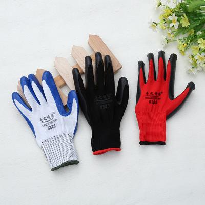 SZQY Găng tay bảo hộ Nhà máy trực tiếp Găng tay cao su màu xanh Bảo hiểm lao động Găng tay nylon Găn