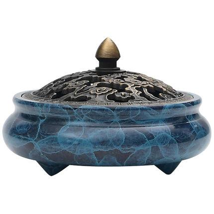 Lư hương Đầu đốt nhang màu tím tinh khiết bằng đồng .