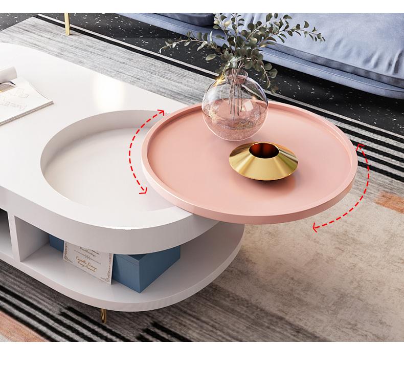 Bàn trà Yishang Bàn cà phê Bắc Âu đơn giản hiện đại căn hộ nhỏ hình bầu dục phòng khách Bàn cà phê đ