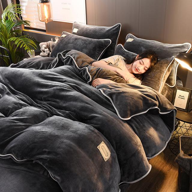 Bộ drap giường Túi tóc giúp mùa đông mới dày đặc màu vàng chồn vàng bốn bộ set Hàn Quốc 1.8 một mặt