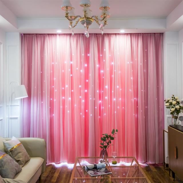 SANRIFENG rèm cửa sổ Túi kẹp tóc tùy chỉnh màn rèm vải một mặt ánh sáng rỗng sao rèm nhà máy trực ti