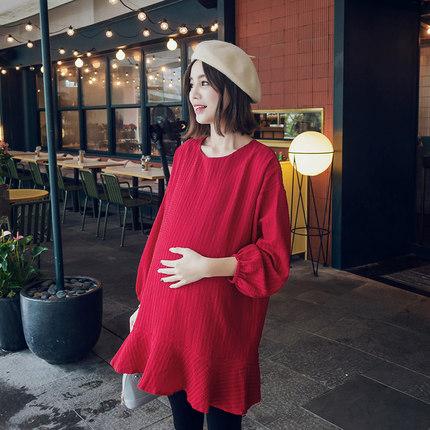 Oulimom  Trang phục bầu Bộ đồ mùa thu cho bà bầu bé nhỏ 2019 lưới đỏ mẫu thủy triều mẹ cộng với size
