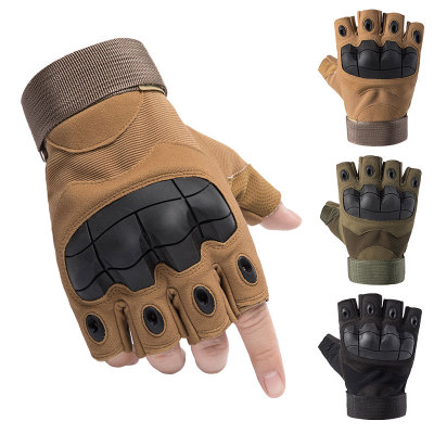 ZECHAO Găng tay bảo hộ Găng tay ngoài trời Blackhawk nửa ngón tay chiến thuật bảo vệ cưỡi thể thao h