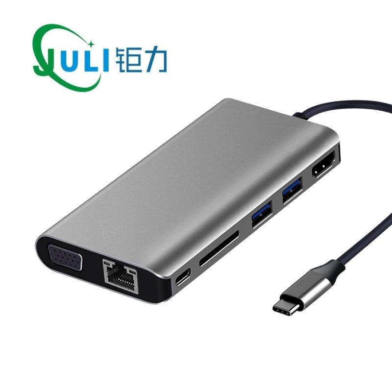 OEM Card mạng Trạm nối 8 trong 1 từ loại c đến hdmi VGA USB3.0 Đầu đọc thẻ HUB SD âm thanh thẻ mạng