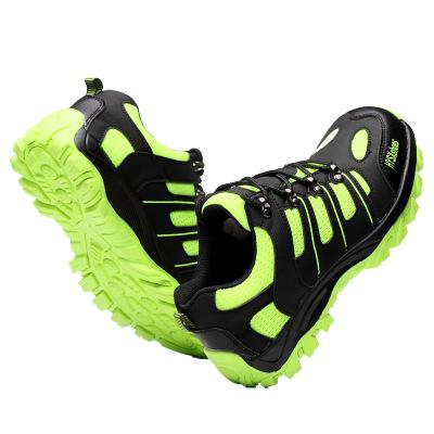 WOZU Giày bảo hộ Giày bảo vệ chống va đập thoáng khí Đèn huỳnh quang màu xanh lá cây thấp hàng đầu b