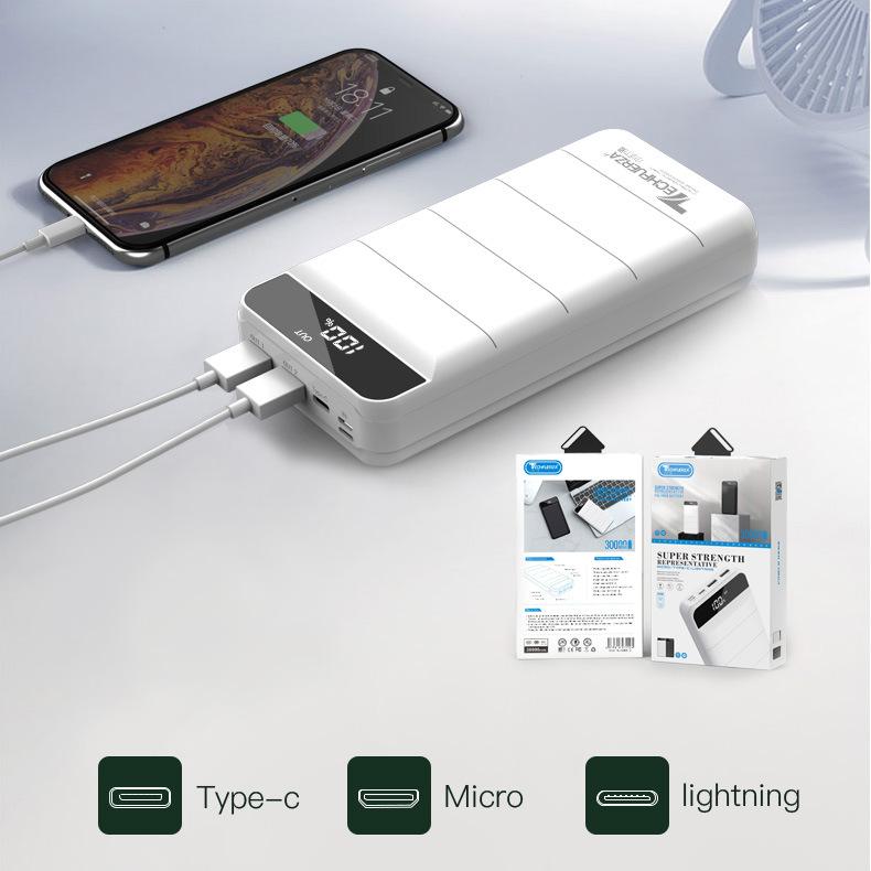 Techfuerza Pin sạc dự bị Bộ sạc điện thoại di động Nucleus 30000mAh dung lượng lớn sạc ngân hàng tùy