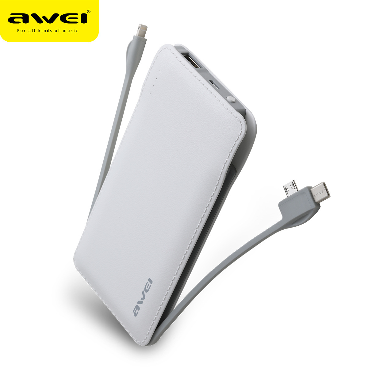 AWEI Pin sạc dự bị sử dụng dây sạc P51K kho báu di động siêu mỏng di động Android 10000mAh