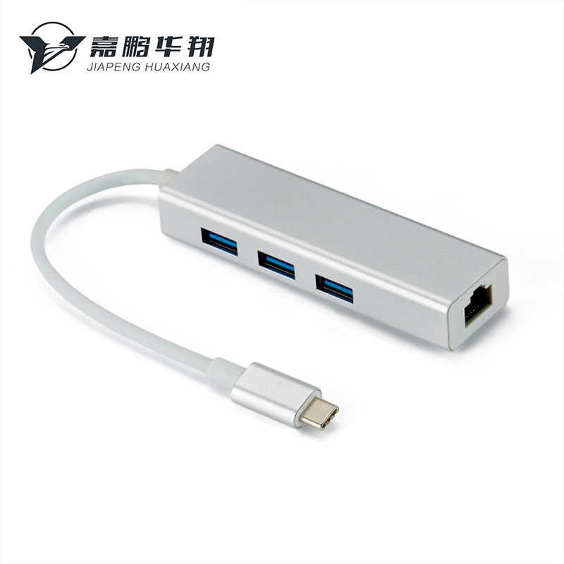 SIPENG Card mạng Nhôm Type-C Để máy tính xách tay card mạng không ổ đĩa 100M USB Bộ chia USB-C3.0 HU