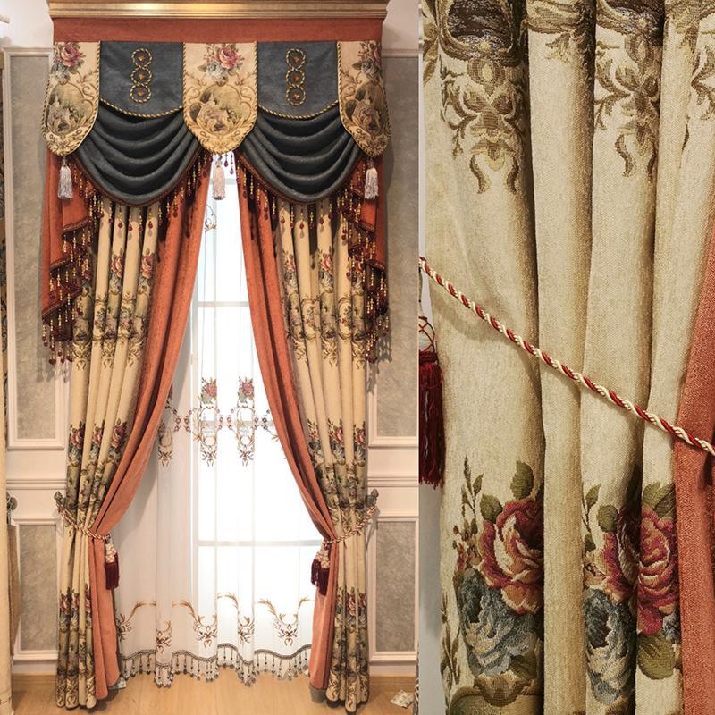 HONGYUN rèm cửa sổ Túi cắt tóc nhà máy trực tiếp châu Âu ấm mục vụ rèm vải phòng khách jacquard hoàn