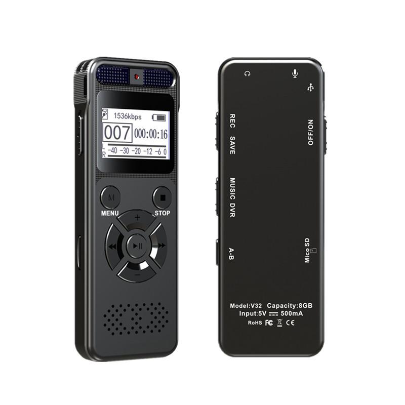 Máy ghi âm Nhà máy sản xuất mô hình nổ bán trực tiếp V32 một phím ghi kim loại HD giảm tiếng ồn chuy