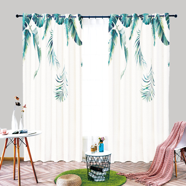 YILIAN Thị trường trang trí nội thất Cotton lanh ins gió rèm mới Bắc Âu lưới màu xanh lá cây rèm phò