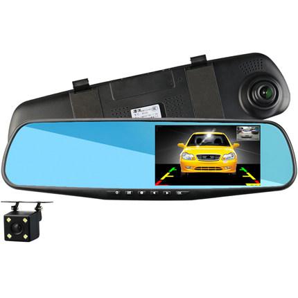 Camera gương chiếu hậu lái xe ghi âm phía trước và phía sau ống kính ghi âm kép HD nhìn đêm