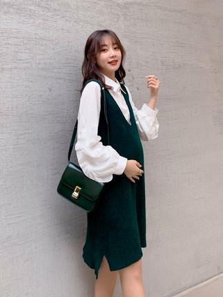 Oulimom  Trang phục bầu Bộ đồ cho bà bầu mùa đông 2019 thời trang mới cho mẹ hai mảnh phiên bản Hàn