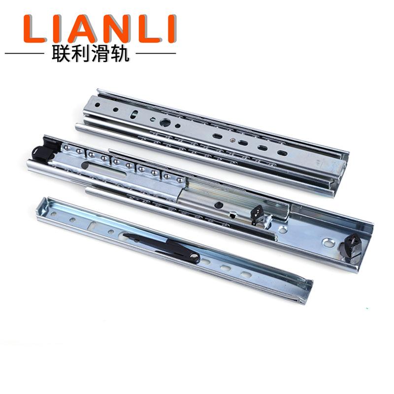 LIANLI Đường ray trượt nặng 53mm đường ray ba phần nặng ngăn kéo trượt đường ray ngăn kéo công nghiệ