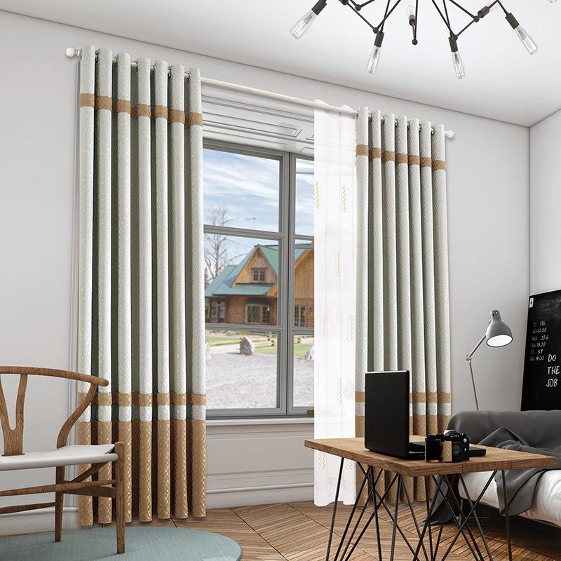 JINKEYUAN rèm cửa sổ Nhà máy trực tiếp hiện đại tối giản phòng khách phòng ngủ rèm châu Âu 3D bông v