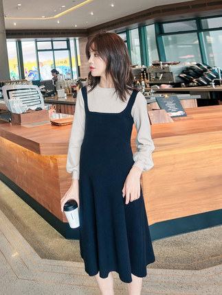 Oulimom  Trang phục bầu Sản phẩm dành cho bà bầu mùa đông thời trang dày lên cho mẹ đan áo hai dây n