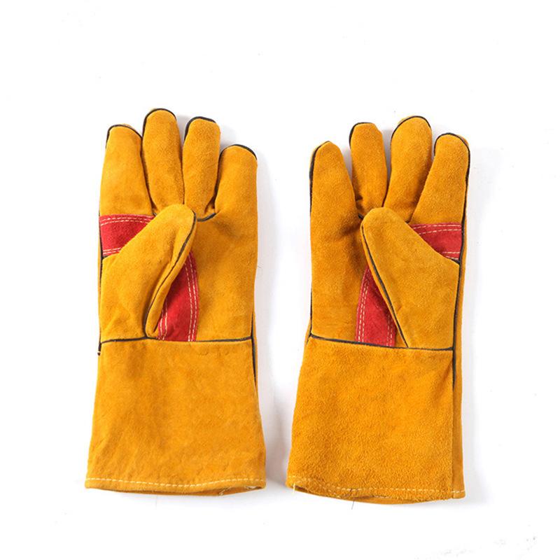 Găng tay bảo hộ Bán buôn bảo hiểm lao động làm việc dài da hàn bảo hộ lao động găng tay chống cháy c