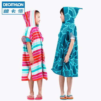 Decathlon Khăn bãi cát  Khăn tắm Decathlon khăn tắm trẻ em khô nhanh áo choàng tắm khăn tắm cape cot