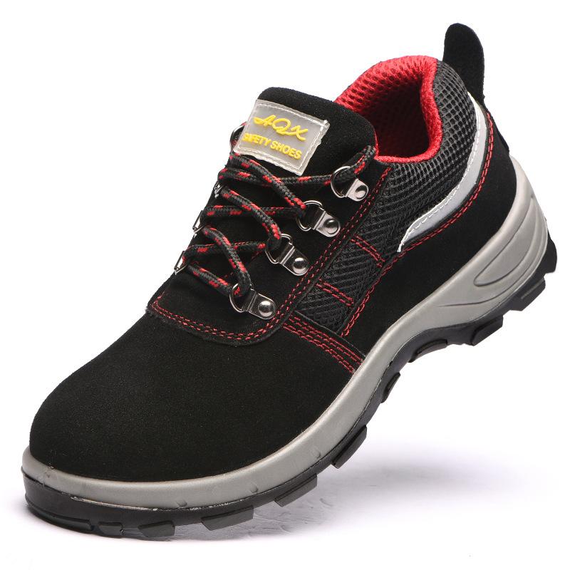 RUIGU Giày bảo hộ Đặc biệt xuyên biên giới cho bảo hiểm lao động giày da thoáng khí chống va đập chố