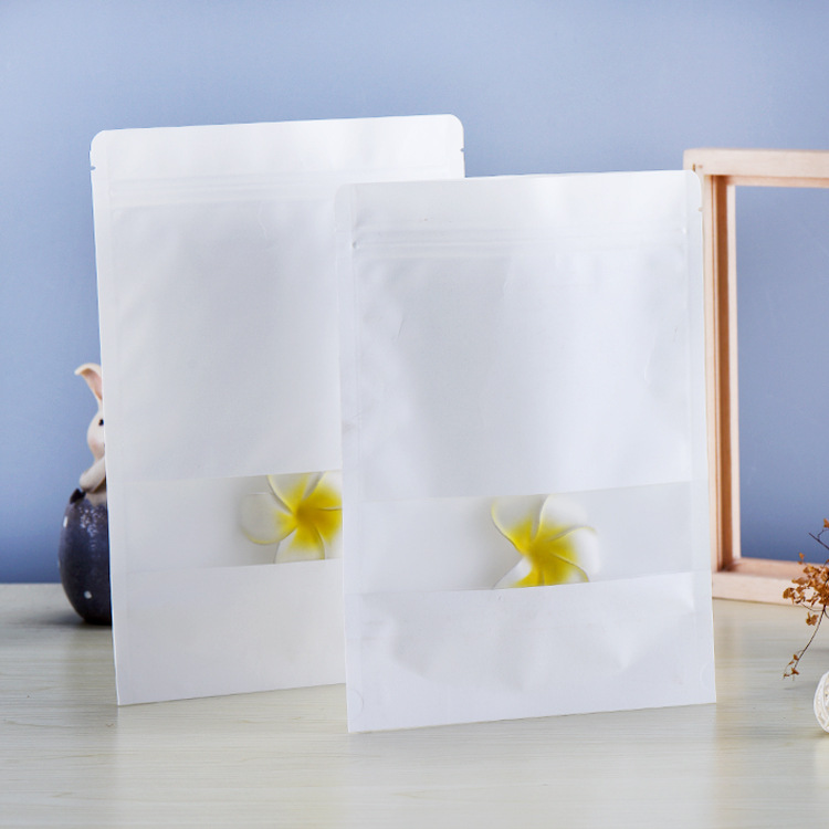 Túi đứng Tùy chỉnh túi giấy kraft trắng ziplock, túi trà cửa sổ, túi đóng gói hạt, túi giấy kraft tự