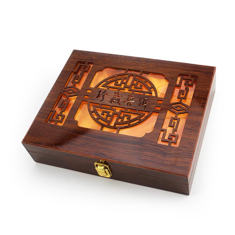 PINGSHI Hộp gỗ Nhà máy trực tiếp rỗng hộp trà Puer hộp trà đen hộp quà đóng gói hộp gỗ có thể được t
