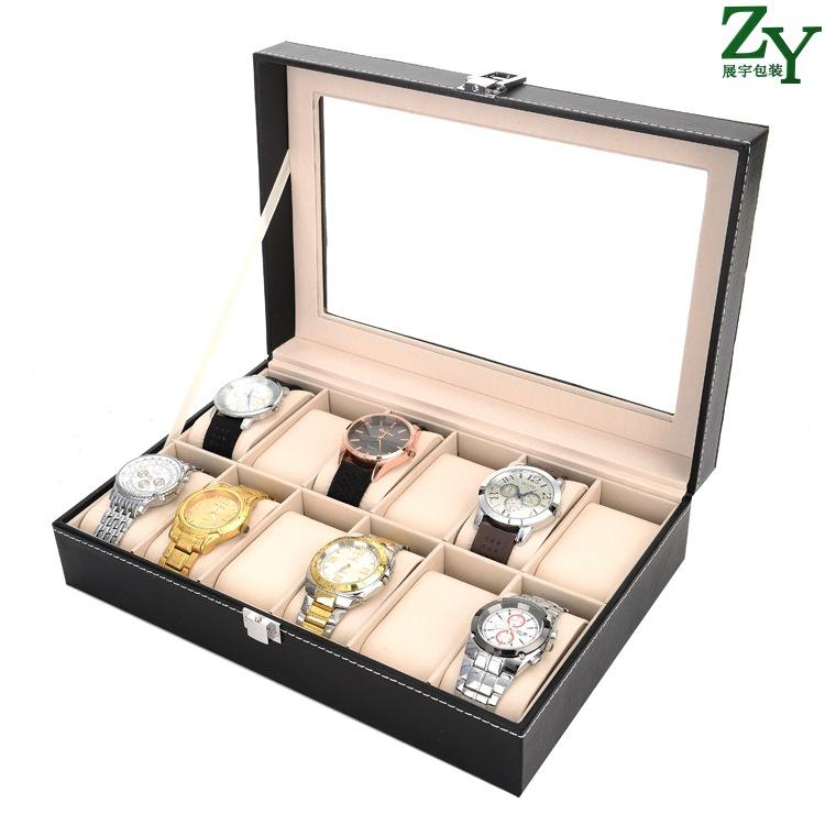 SAISHUO Hộp gỗ Tại chỗ bán buôn gỗ 12-bit hộp đồng hồ hộp lưu trữ hộp đồng hồ hộp nhà sản xuất đồng