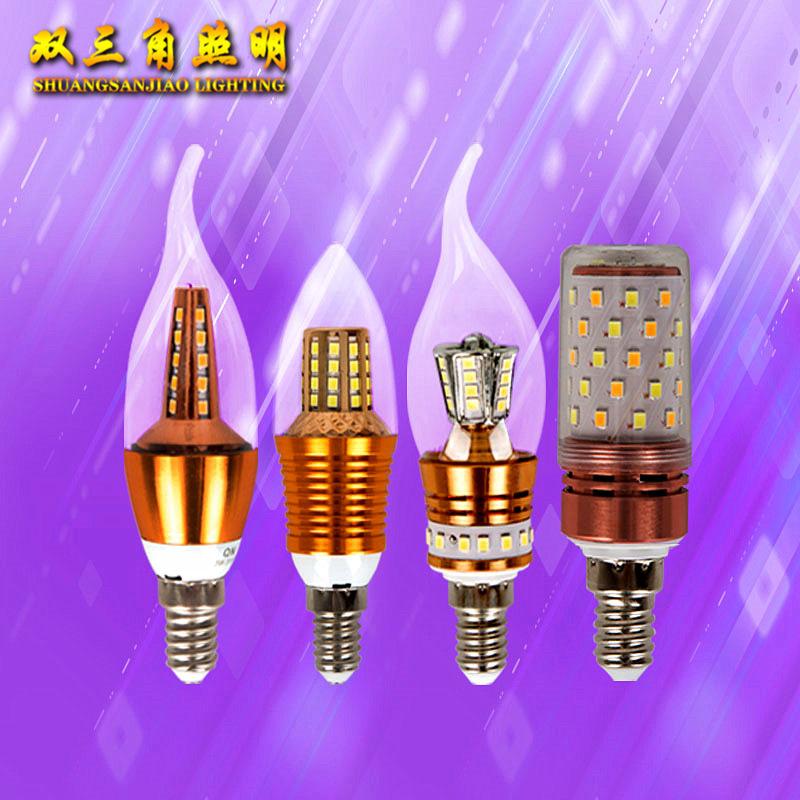 SHUANGSANJIAO Bóng đèn nến LED ngô sao băng búa nến ánh sáng pha lê E14 e27 ba màu nguồn ánh sáng nế