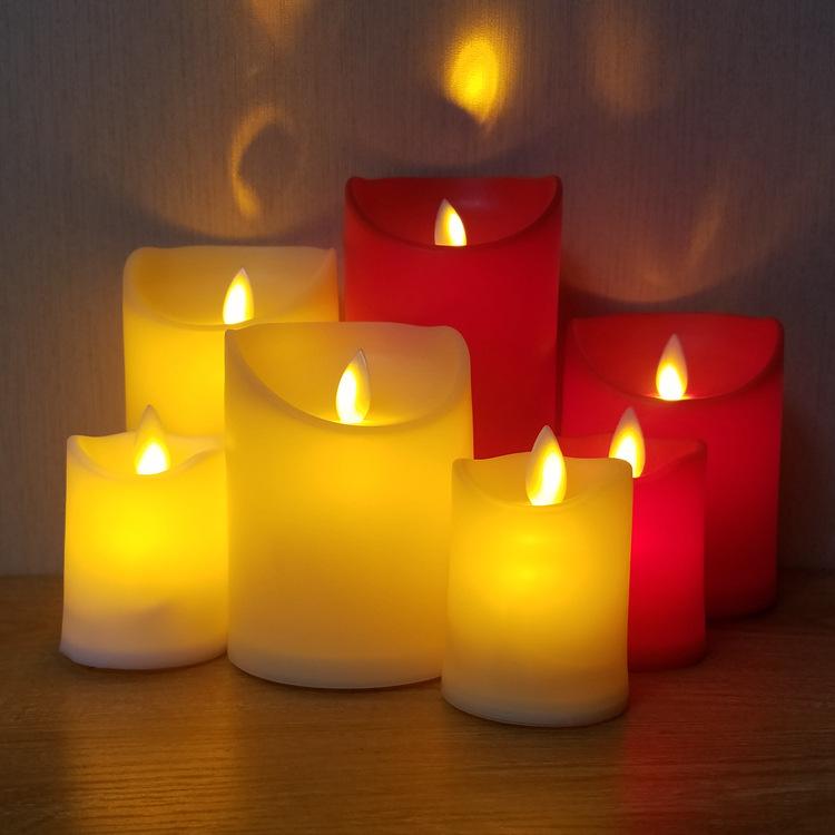 HUAWEI Bóng đèn nến Red led nến điện tử ánh sáng xiên nhựa mô phỏng ngọn lửa nhà hàng và thanh cung