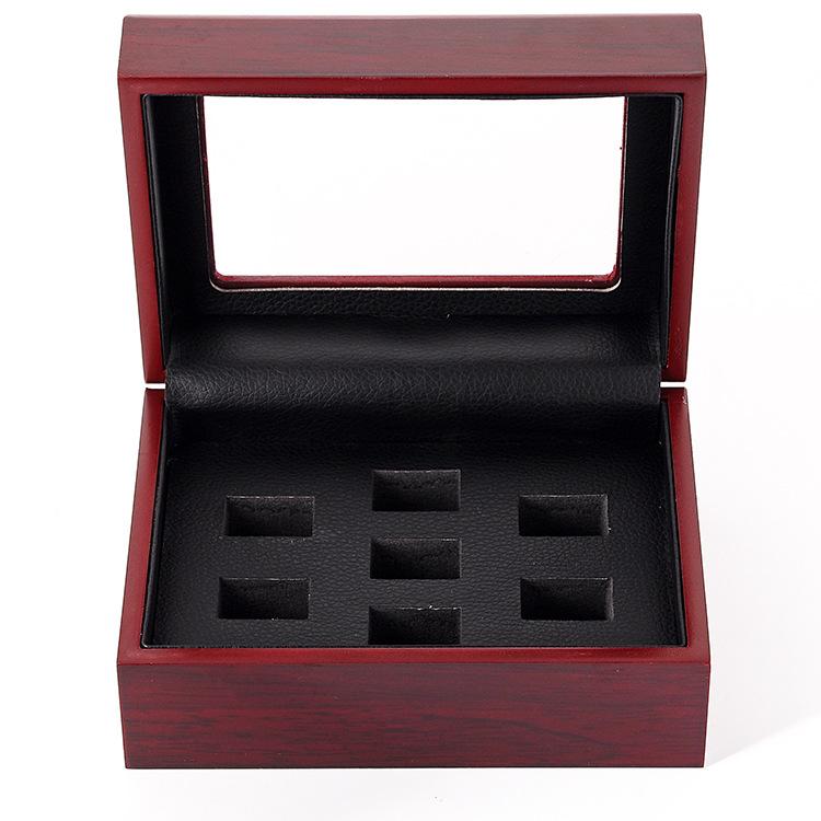 Hộp gỗ Nhà máy trực tiếp hộp nhẫn đóng gói hộp gỗ hộp vô địch cổ điển nhẫn 7 lỗ phù hợp với hộp nhẫn