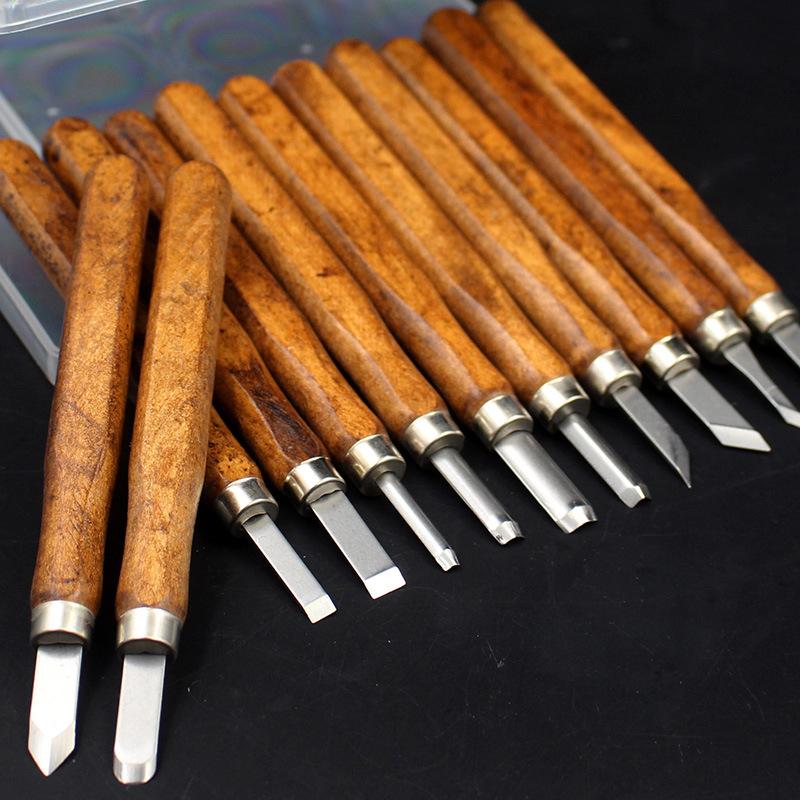 TANGSHI Dao điêu khắc Tang's Wood khắc khắc dao giả gỗ hồng mộc 3 cái / 8 cái / 12 cái Khắc dao Han