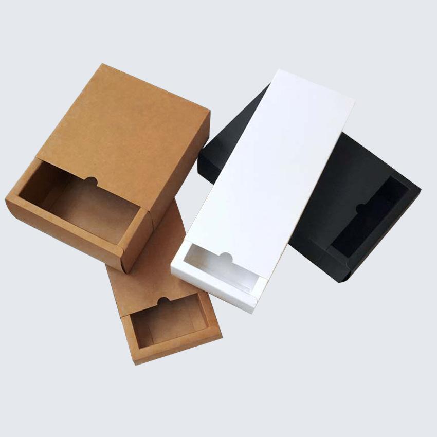 Hộp giấy Ngăn kéo Hộp giấy kraft Hộp trà Trinket Đồ lót Sản phẩm Khăn quàng hộp Hộp khăn quàng tùy c