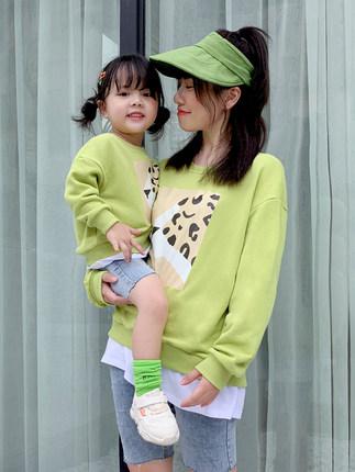 Tian Beier Áo thun gia đình Một gia đình gồm ba chiếc áo len mùa xuân và mùa thu 2020 mới thủy triều