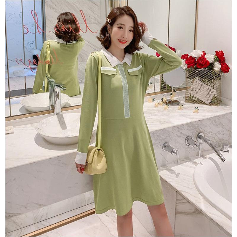 Thời trang nữ Phiên bản Hàn Quốc của kiểu dáng dệt kim cỡ lớn thời trang lỏng lẻo dài tay a-line nữ