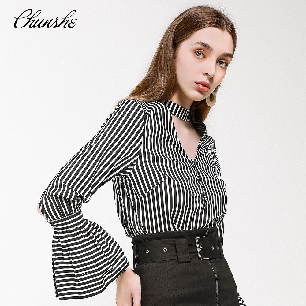 CHUNSHE Thời trang nữ Thiết kế ban đầu của phụ nữ thời trang đường phố sọc thích hợp kèn tay áo quấn