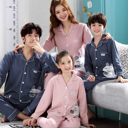 Áo thun gia đình Mùa xuân và mùa thu 2019 đồ ngủ cha mẹ trẻ em cotton dài tay gia đình của ba bộ đồ