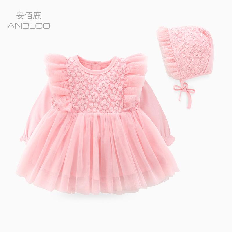 ANBAILU Váy Phù hợp với trăng tròn váy bé váy quần áo dài tay công chúa váy bé quần áo xuân hè mới