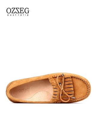OZZEG Giày mọi Gommino Giày cao gót nữ OZZEG Giày da mùa xuân và mùa thu 2020 Giày đế bệt đế xuồng đ