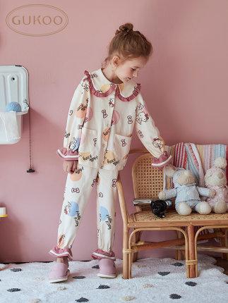 Gukoo Đồ ngủ trẻ em Đồ ngủ mới cho trẻ em mùa xuân và mùa thu Bộ đồ ngủ dài tay cho bé gái Bộ đồ ngủ