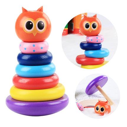 Đồ giảng dạy trẻ sơ sinh  [Ruyuan] Little Hou Bird Owl Hippo Set Trụ cột Đồ chơi Đồ chơi Mẫu giáo Gi