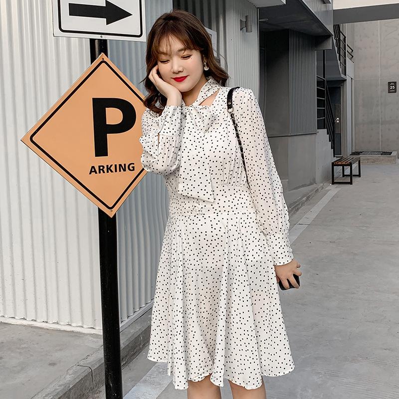 Thời trang nữ 2020 Spring Lace Up Dot Plus Size Dress Thời trang MM Mỡ Phụ Nữ Lớn