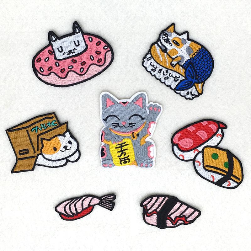 HJ phù hiệu vải Nhật Bản sushi DIY thêu thêu phim hoạt hình thêu Zhang Zi tùy chỉnh thêu vải dán tại