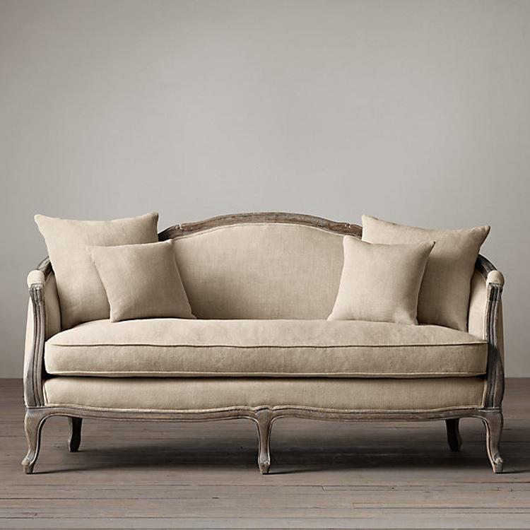 HECHENG Nội thất Sofa retro Pháp Gỗ rắn đồ gỗ Mỹ đau khổ đơn đôi sofa vải ba có thể được tùy chỉnh