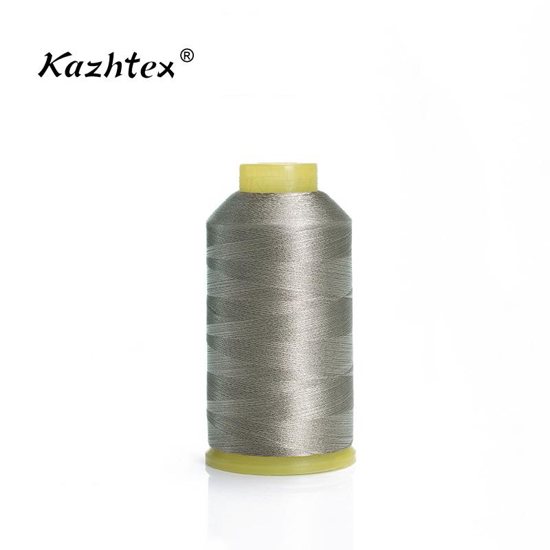 Kazhtex Chỉ thêu Nhà sản xuất mới sợi bạc may 70D / 3 sợi chỉ thêu mạ bạc 100g thêu ren tùy chỉnh bá