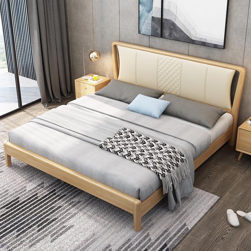 XINCHANG Nội thất Giường gỗ rắn Bắc Âu hiện đại tối giản 1,8 m 1,5 giường đôi nội thất phòng ngủ chí