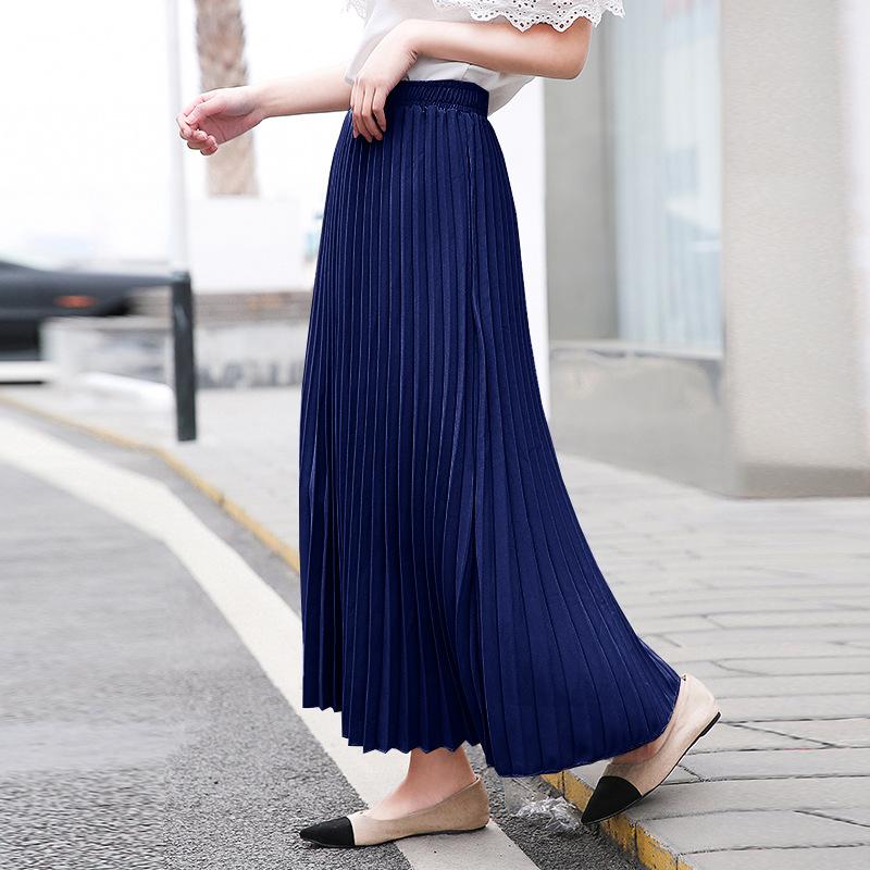 LEWEIYA Váy 2019 phiên bản mới của Hàn Quốc màu rắn dài váy xếp li lớn eo cao váy phụ nữ thun eo