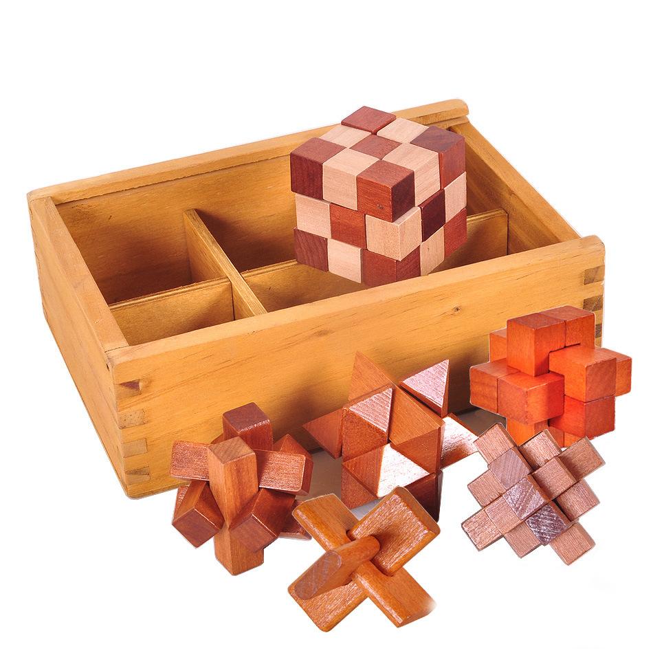 Đồ chơi giáo dục bằng gỗ dành cho người lớn Đồ chơi cổ điển Khóa Kongming Khóa Luban Khóa Kongming đ