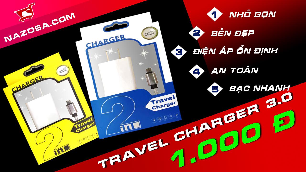 Bộ sạc du lịch TRAVEL CHARGER 2 IN 1 (Hàng gốc 100%)